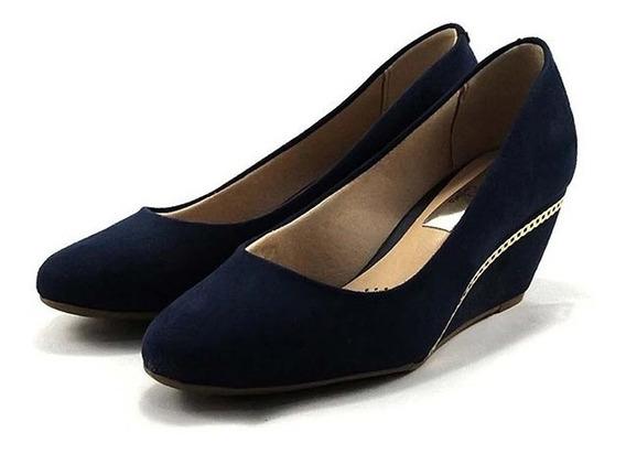 Sapato Feminino Anabela Azul Beira Rio
