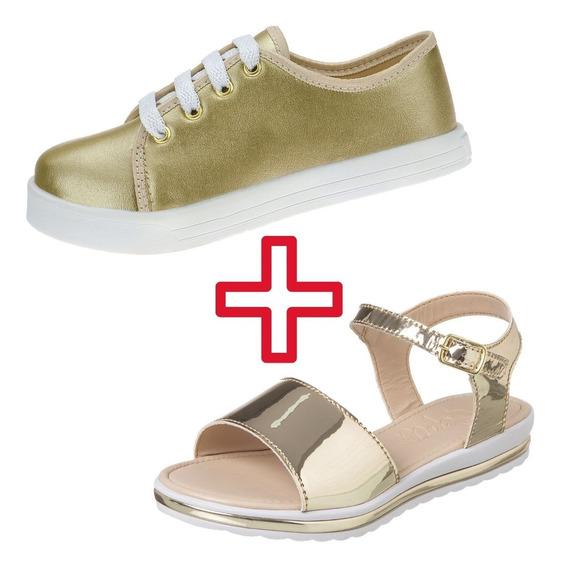 2 Pares Sapato Infantil Feminino Atacado Tenis Sandalia Moda