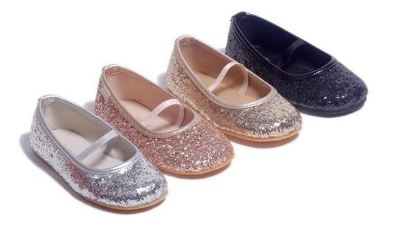 Ballerinas Chatitas Brillo Glitter Niña Mujer Talles 17 A 33