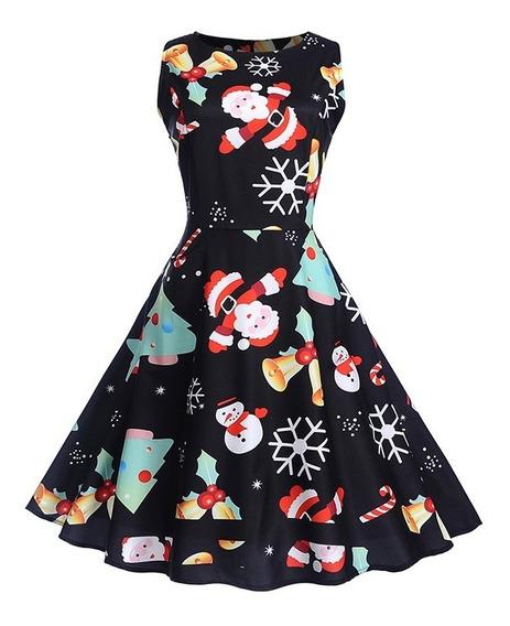 Vestido Pin Up Vintage Estampado Navidad