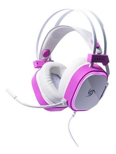 Auriculares Gamer Vsg Gemini Blanco Rosa Rgb Pc Microfono