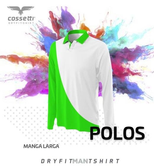 Playera Tipo Polo Cossetti Manga Larga Dry Fit Combinala