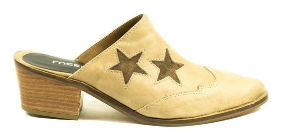 Zapato Zueco Cuero Ecru Punta 30l160