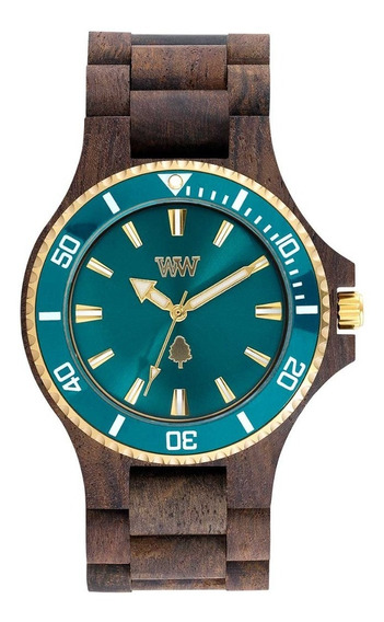 Relógio, Wewood, Date Mb Choco Rough Emerald