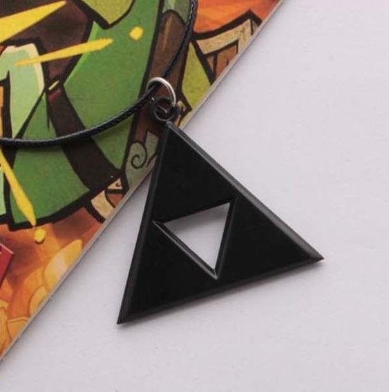 Collar Dije Zelda Link La Trifuerza Black Geek Gamer