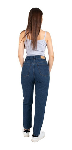 Jean Pantalon Mujer Mom Rigido Tiro Alto
