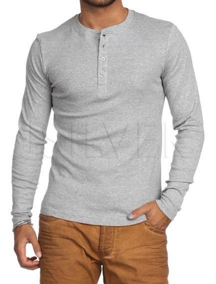 Camiseta Henley Slim Fit Ml - 5 Cores -compre 3 Frete Grátis