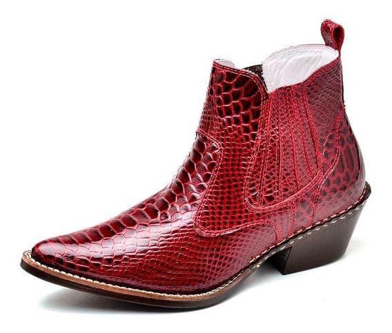 Bota Botina Country Masculina Couro Combina Cinto Cowboy