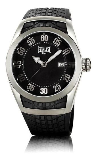 Relógio Pulso Everlast Masculino Aço Silicone Preto E196