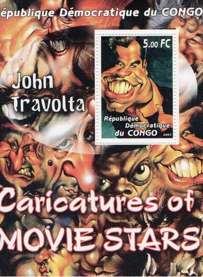 Caricatura De John Travolta - Hoja Con Estampilla Del Congo