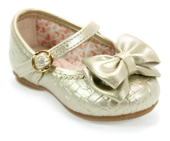 Sapato Menina Laço Bailarina Baby Dourado Kidy