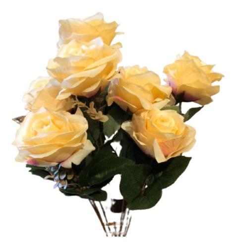 Imagem 1 de 2 de Buquê De Rosas X9 55cm - Pêssego Outono