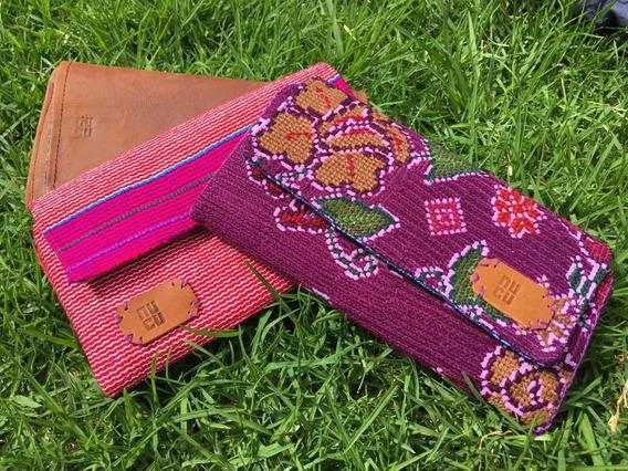 Cartera Hecha Con Textil Artesanal Chiapaneco Y Piel