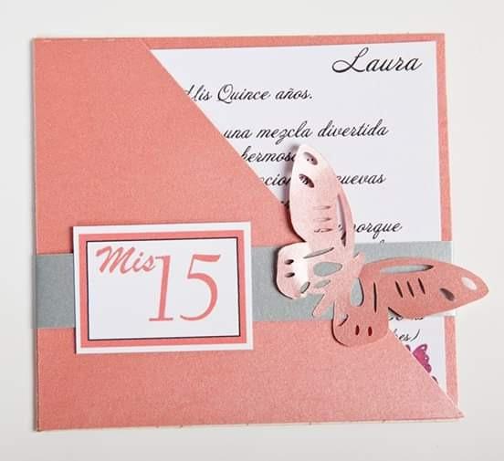 Tarjetas 15 Años Con Mariposa Calada. Varios Colores