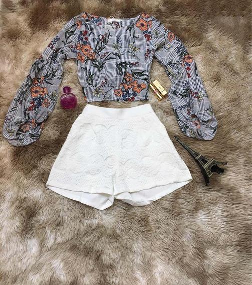 Kit3 Camisa Blusa Feminino Cropped Manga Longa Flores Atacad