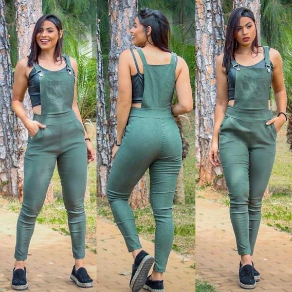 Macacão Jardineira Jeans Fake Feminina Macaquinho Bengaline