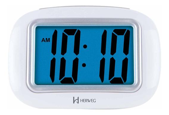 Despertador Digital Herweg 2976 021 Moderno Branco- Refinado