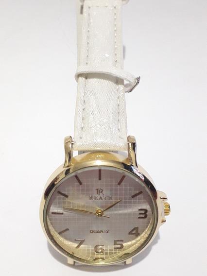 Relógio Pulso Feminino Dourado Pulseira Branca Quartz Social