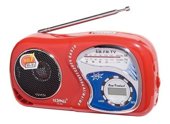Radio De Bolso Portátil Com Relogio Am/ Fm/ Tv/ Data/ Hora