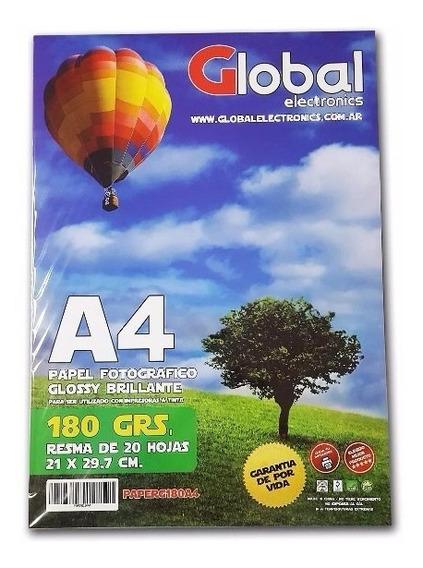 Papel Fotográfico Resma A4 180 Gr Brillante Glossy 20 Hojas