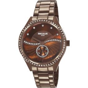 Relógio Seculus Feminino Marrom Strass Original 20612lpsvms3