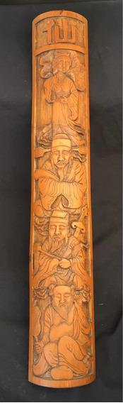 Painel Escultura Oriental Bambu Natural Antigo