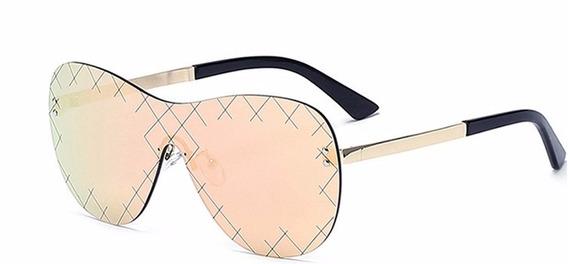 Oculos De Sol Feminino Sem Armação Oversized Espelhado