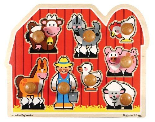 Melissa - Doug Farm Animals Jumbo Knob Puzzle De Madera
