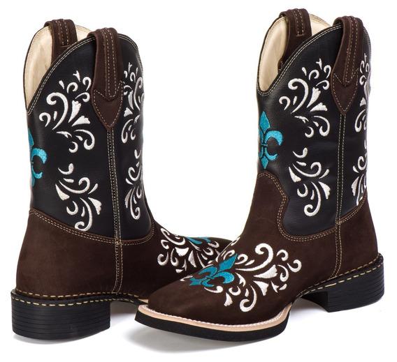 Bota Country Texana Feminina Couro Legítimo Cano Longo