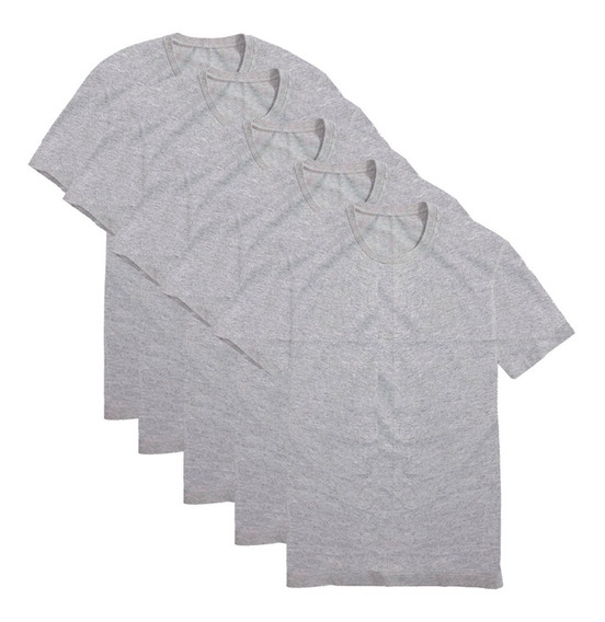 Kit 5 Camisetas Básicas Masculina T-shirt Algodão Cinza Tee