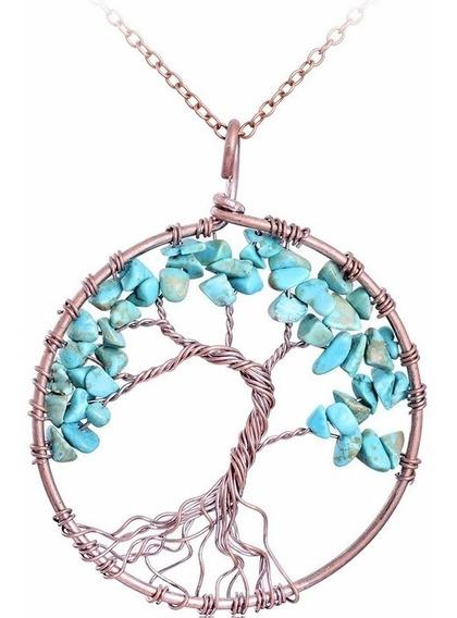Colar Pedra Cristal Árvore Da Vida Turquesa Super Promoção