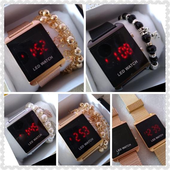 Relógios Quadrado Digital + Caixa & Pulseira - 10 Unidades