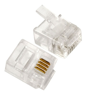 Conector Para Cable Telefonico Rj-11 100 Piezas 4 Cuchillas