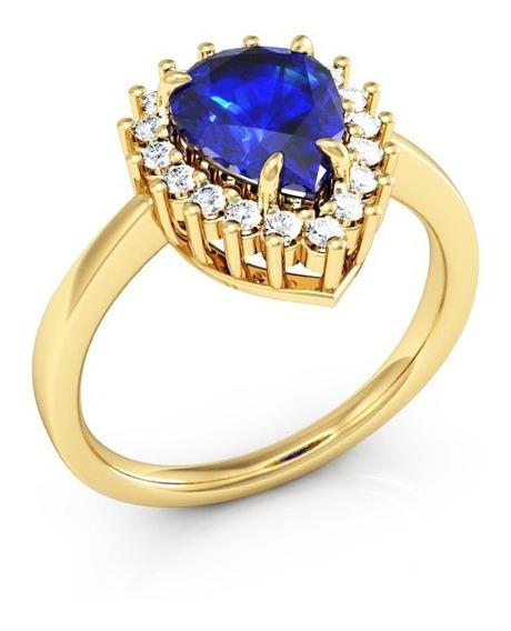Anel De Ouro Zircônia Azul Gota