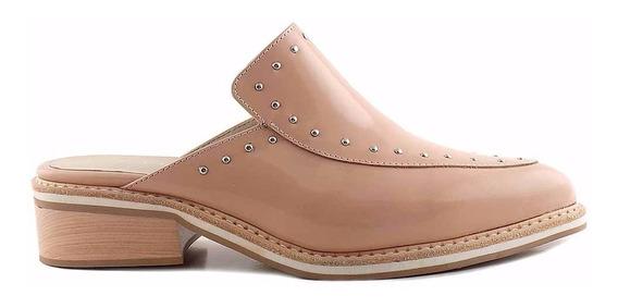Zueco Zapato Mujer Cuero Briganti Taco Bajo - Mcsu48019 Ch