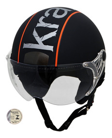 Capacete Aberto Kraft Plus Preto Fosco Harley Drag Shadow