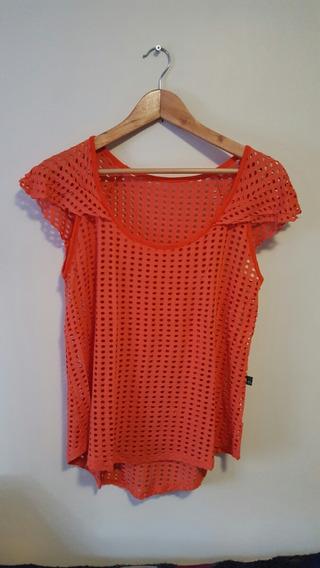 Blusa Camiseta Feminina Laranja Furadinha