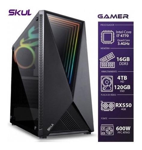 Imagem 1 de 8 de Pc Gamer Com Placa De Video Rx550 16gb Hd Jogos E Gravação