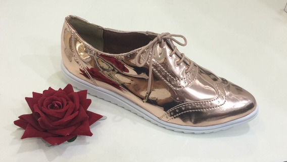 Sapato Tênis Oxford Feminino Verniz Cobre