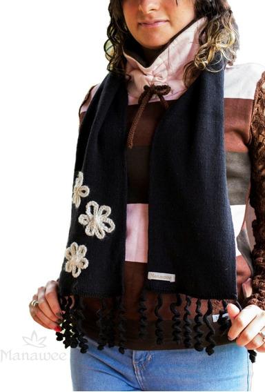 Bufanda Manawee Mujer Con Flecos Al Crochet