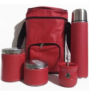 Set Matero Completo Rojo Excelente Calidad Termo 1 Litro
