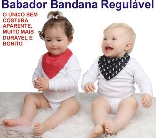 Kit 10 Peças Babador Bandana Com 3 Regulagens