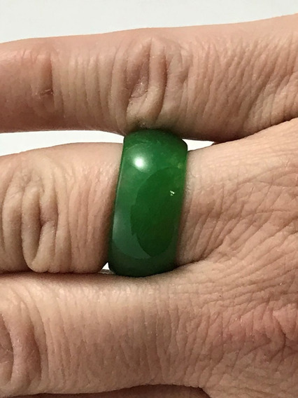 Anel Jade Verde Unissex 8 Mm Largura Nº 20
