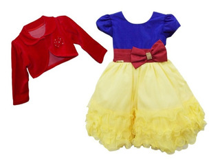 Frete Grátis Vestido Infantil Branca De Neve C/ Bolero Luxo