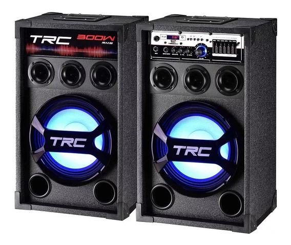 Caixa De Som Amplificada Com Bluetooth 300 Watts Rms Trc 368