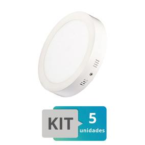 Kit 5 Painel Plafon Led Sobrepor Redondo 25w Branco Frio