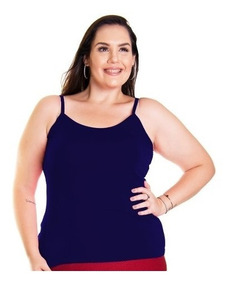 Roupa Feminina Plus Size Blusa Camisa Regata Básica Alcinha