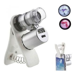 Lupa 60x Clip Microscopio Led/uv Para Smartphones Universal