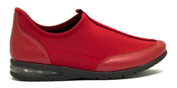 Zapatillas Mujer Charol Y Lycra Soft Rojo Suela Aire