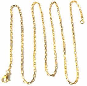 Corrente Cordão Elo Quadrado 2mmx 60cm Aço Inox Banhado Ouro